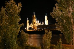 El Pilar cathedral at Zaragoza by night